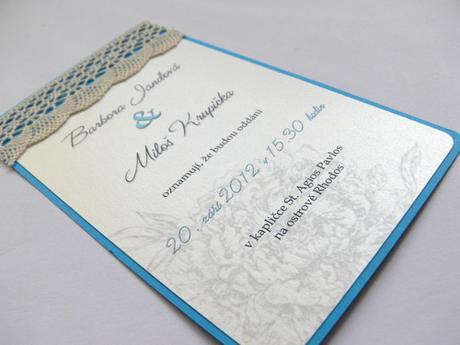 Svatební oznámení s krajkou  - Obrázek č. 1