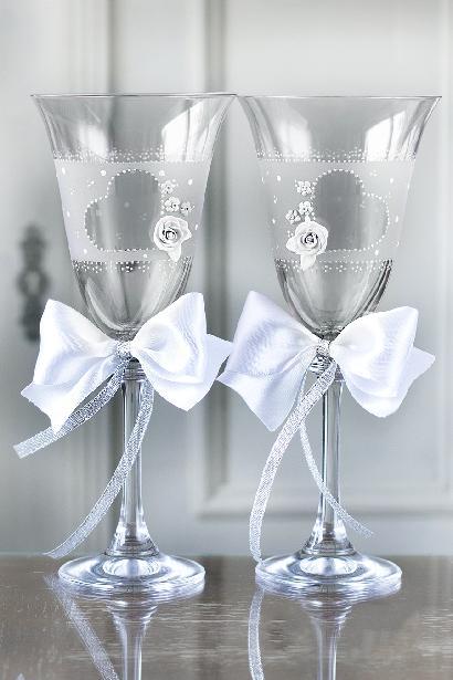 Svatební sklenice srdce s růží - Obrázek č. 1