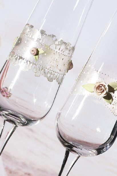 Svatební sklenice ornament s růží - Obrázek č. 1