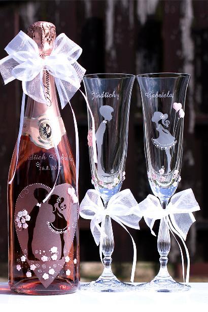 Svatební sklenice pískování s růží - Obrázek č. 3
