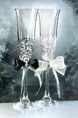 Svatební sklenice černá a bílá,