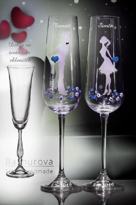 Svatební sklenice se srdíčky - Obrázek č. 4