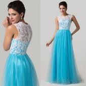 Bielo - modré - spoločenské šaty _ 40 -42,
