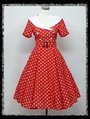 Červeno-biele Retro šaty aj pre Moletky - 36-48,