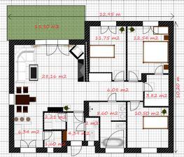 Podrobnější rozpis místnostní a rozměr baráku :-) Od puvodniho projektu, je zmenšený cca o 1 místnost..