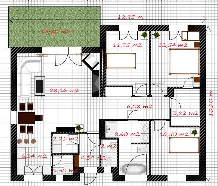 EKO 120 - svepomocně ○ DEKA ○ - Podrobnější rozpis místnostní a rozměr baráku :-) Od puvodniho projektu, je zmenšený cca o 1 místnost..