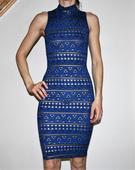 Elastické šaty modro zlaté vel 36, 36