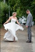 Boho splývavé svatební šaty, jako pro vílu, 38