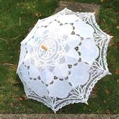 Svatební krajkové paraplíčko s futrálkem,