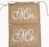 Cedulky na židle z juty Mr a Mrs,