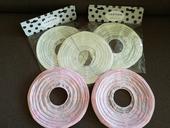 Lampióny dekorační 25cm 3x bílý 2x růžový,