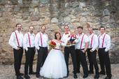Sada červená svatba - kšandy, motýlky, motýlek,