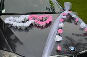 Svadobná výzdoba na auto, kytica a bižutéria,
