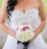 Čipkované biele svadobné šaty, 40