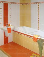 Takový obklad jsem vybrala pro koupelnu, jen v jiném uspořádání a bez červeného obkladu.