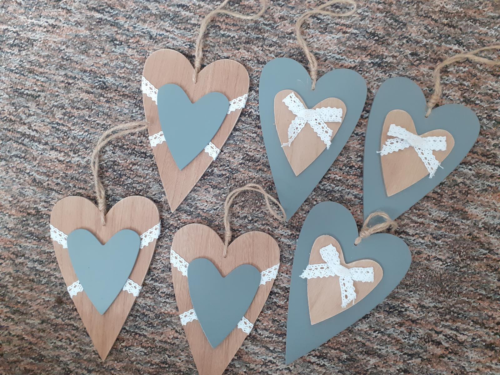 Dřevěná srdce - svatební výzdoba 6ks - Obrázok č. 1