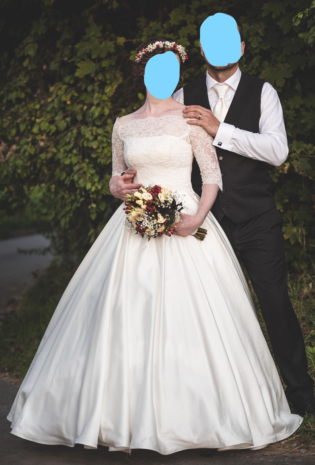 Svatební šaty s krajkovým bolerkem vel. 36-40 - Obrázek č. 1
