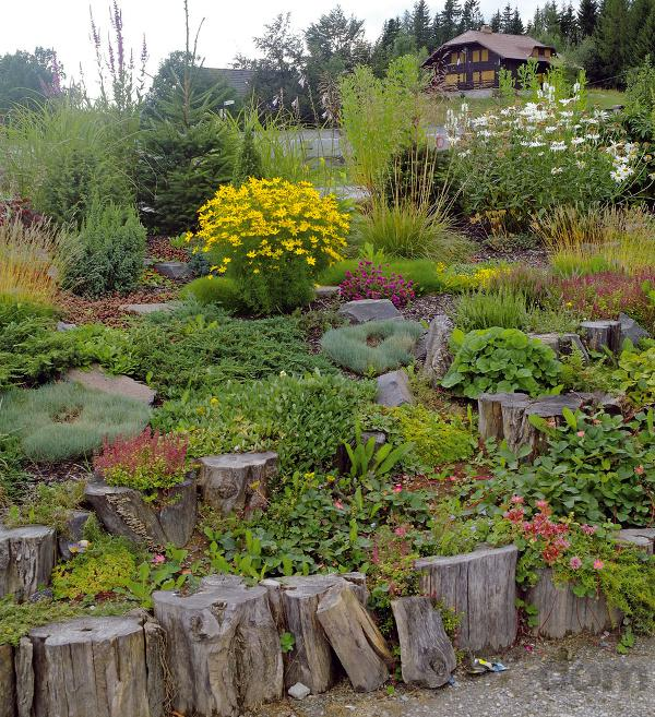 Skalky,skalničky a všeličo do záhrady - záhrada vo svahu