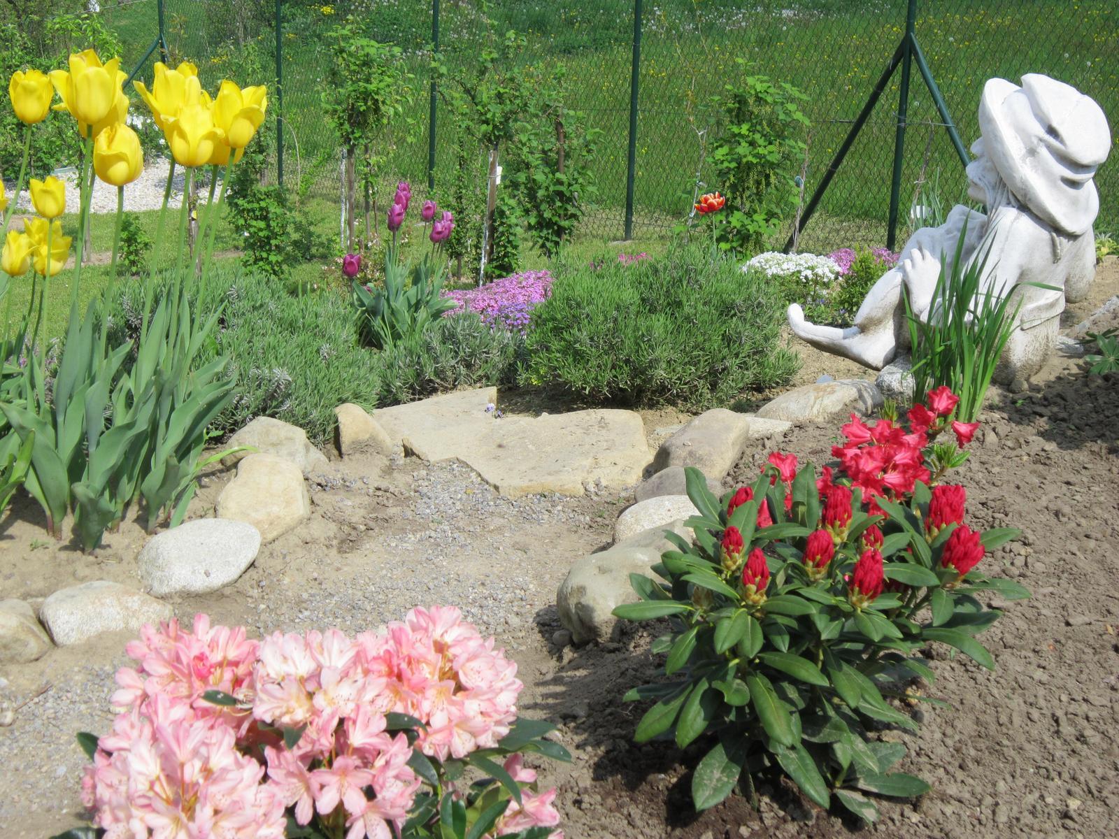 Moja záhrada...ako šiel čas - Vodníkovi už nie je smutno,kvitnú mu rododendrony...
