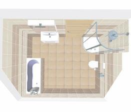 Nějak tak by to mělo vypadat, bude tam pár drobných úprav. Horní koupelna.