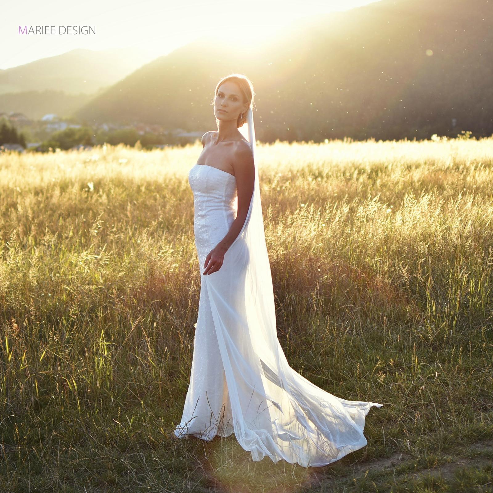 Luxusné svadobné závoje z francúzskeho hodvábneho tylu - Obrázok č. 1