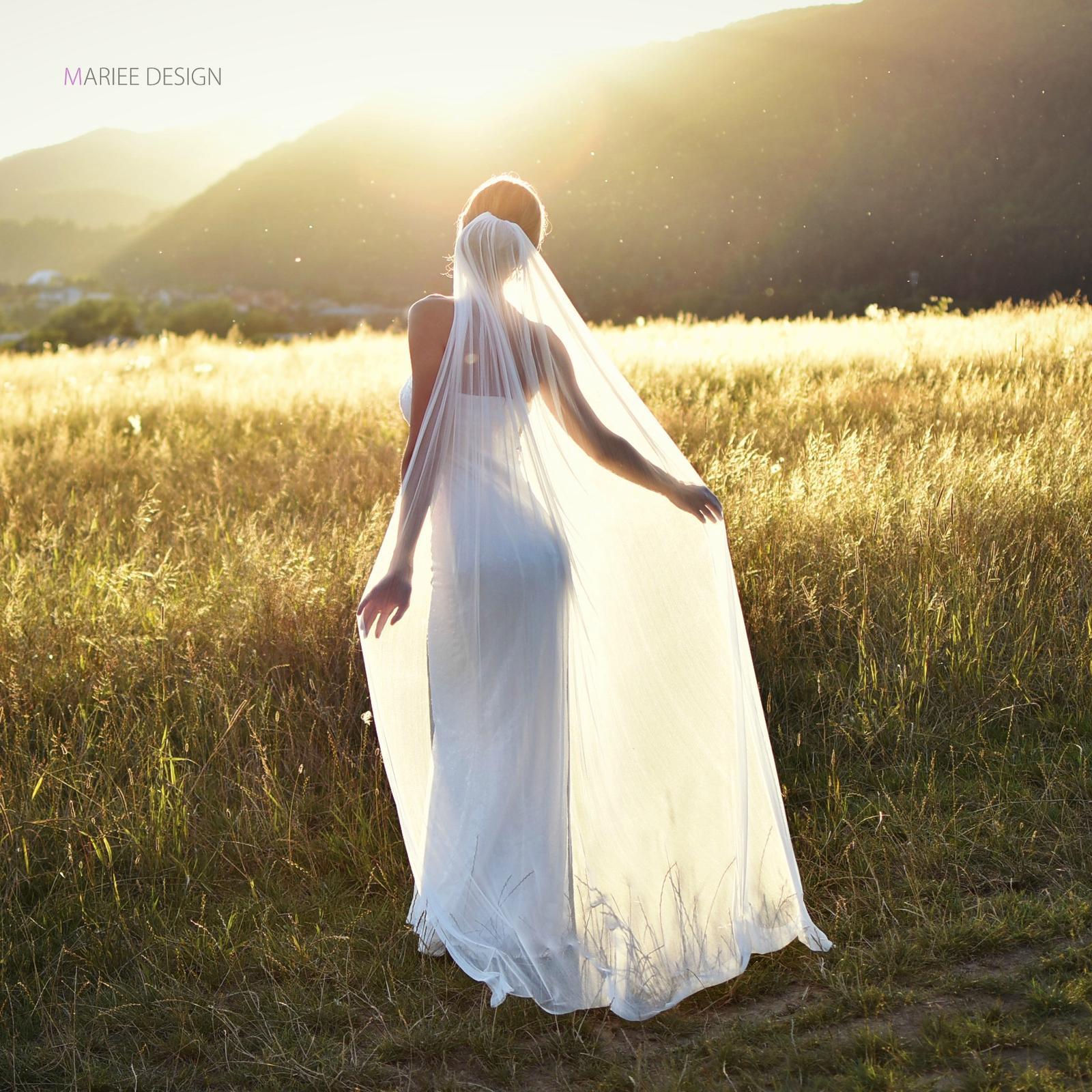 Luxusné svadobné závoje z francúzskeho hodvábneho tylu - Obrázok č. 2