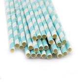 Slamky s modrými prúžkami 25 kusov,