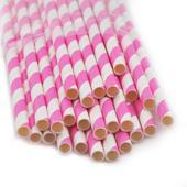 Slamky s ružovými prúžkami 25 kusov,