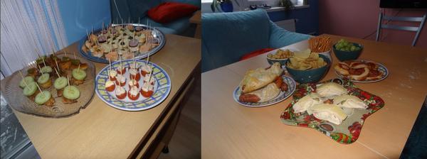 Moje práce, jen obyč. jednohubky, miniřízky, pizza ešneky, párky v těstíčku a sýrová roláda, spíše průměrná až podprůměrná hostina při rozlučce s bytečkem