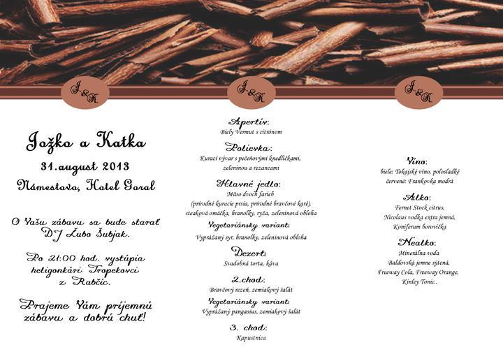 Takto plánujeme MY :) - svadobne menu