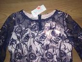 Nádherné šaty svetlo ružové s tmavo modrou čipkou, 48