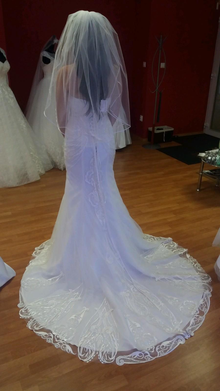Svadobné šaty s 3d čipkou v ivory farbe - Obrázok č. 2
