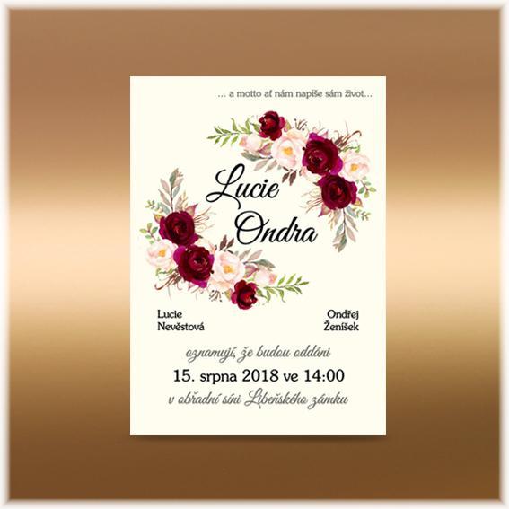 Květinová přírodní oznámení - www.svatebni-oznameni-printia.cz