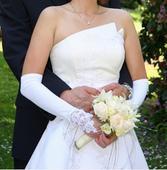 kvalitní bílo-smetanové svatbní šaty, 36