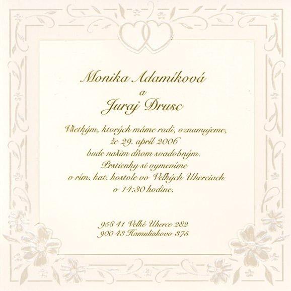 Moje prípravy na svadbu - naše oznámenie...