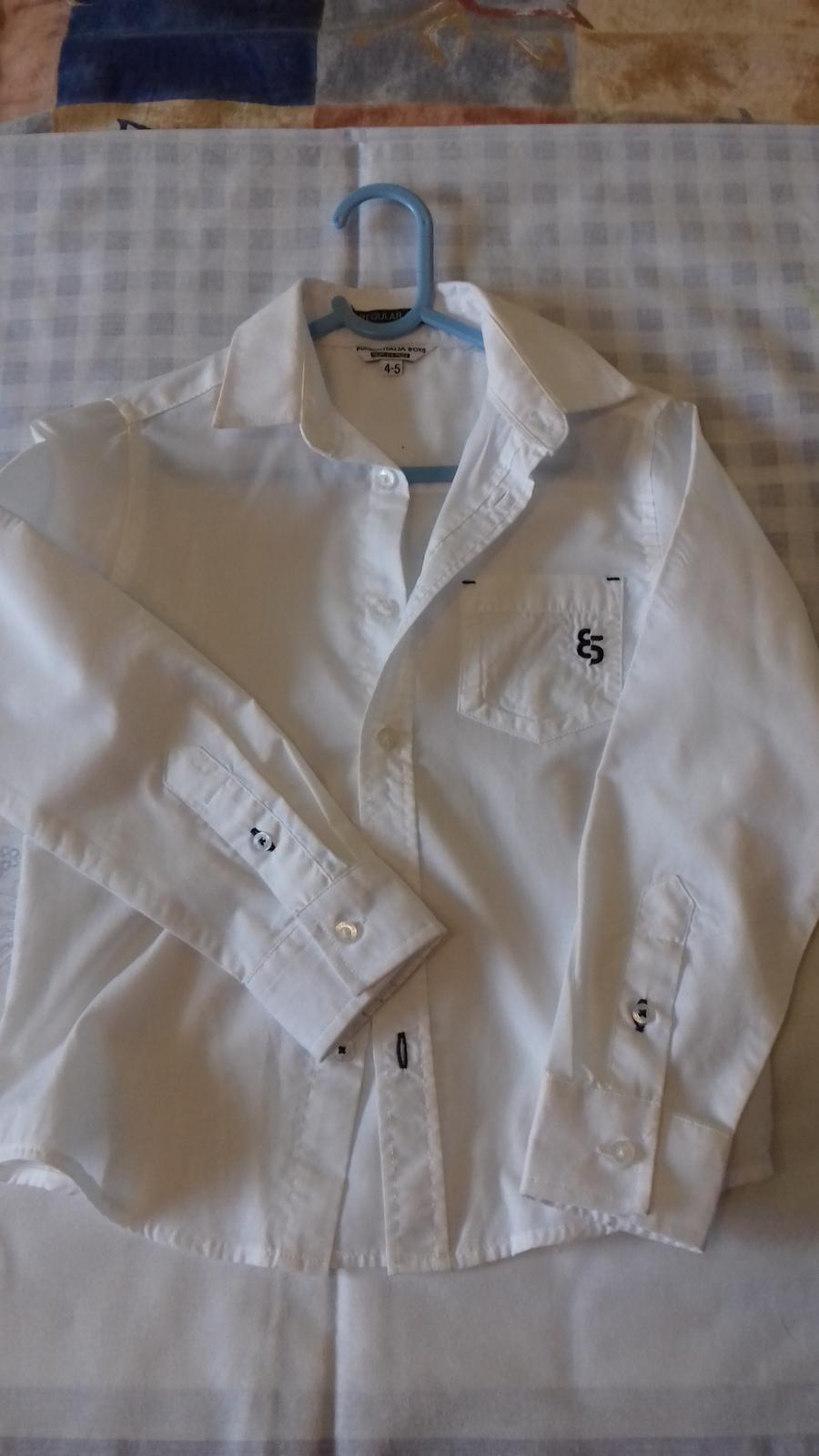 Svadobná biela košeľa s dlhým rukávom  - Obrázok č. 1