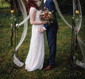 Svatební šaty s doplňky (originální návrh na míru), 42