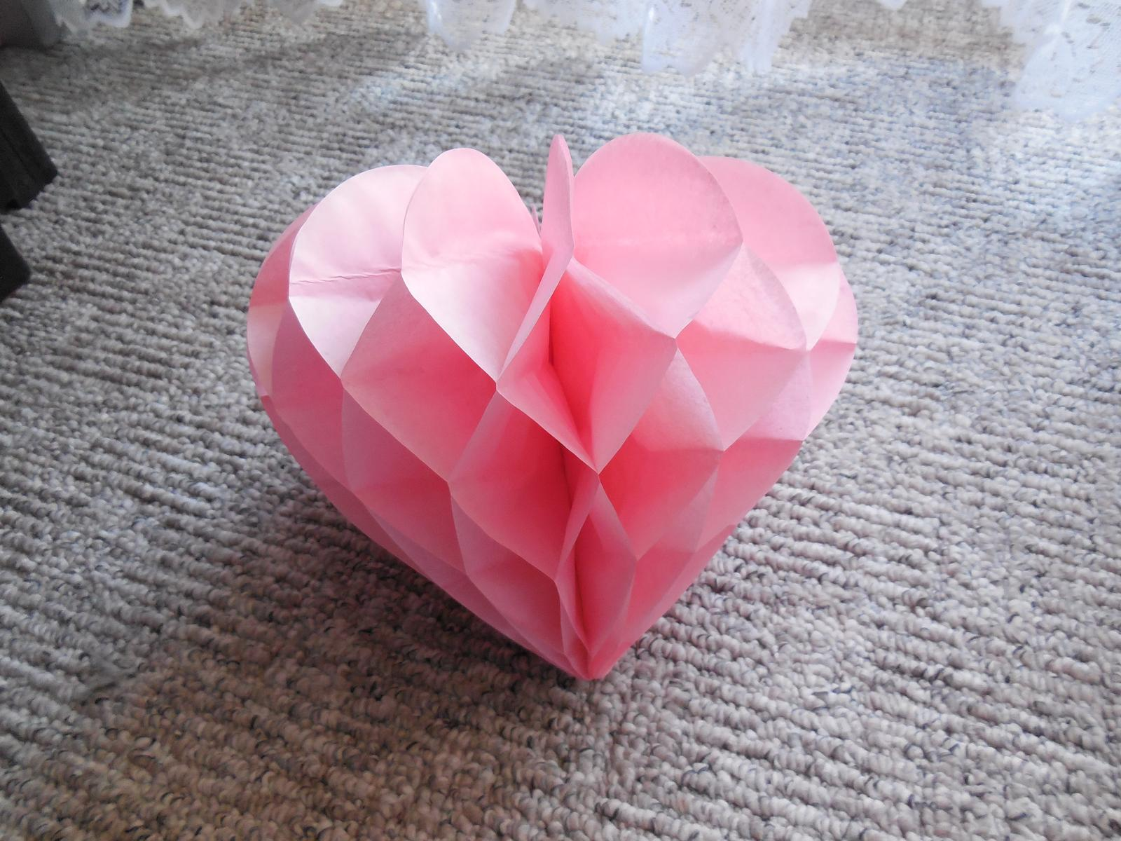 Honeycomb srdce bílé, růžové - Obrázek č. 1