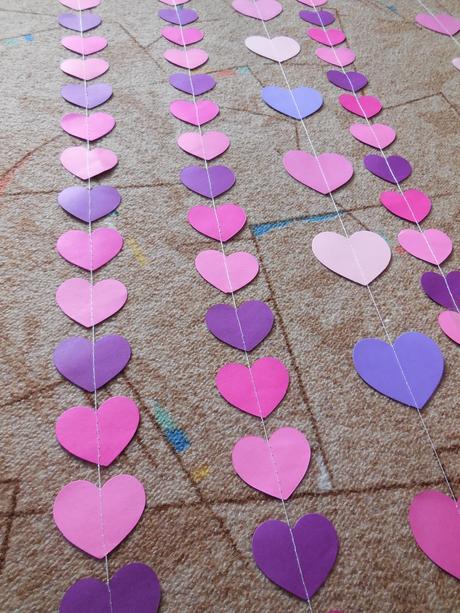 papírová girlanda, závěs - růžová, fialová - Obrázek č. 1