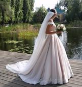 Púdrovoružové svadobné šaty, 36