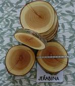 Dřevěná kolečka/podnosy/podtácky-jeřabina,lak,11cm,