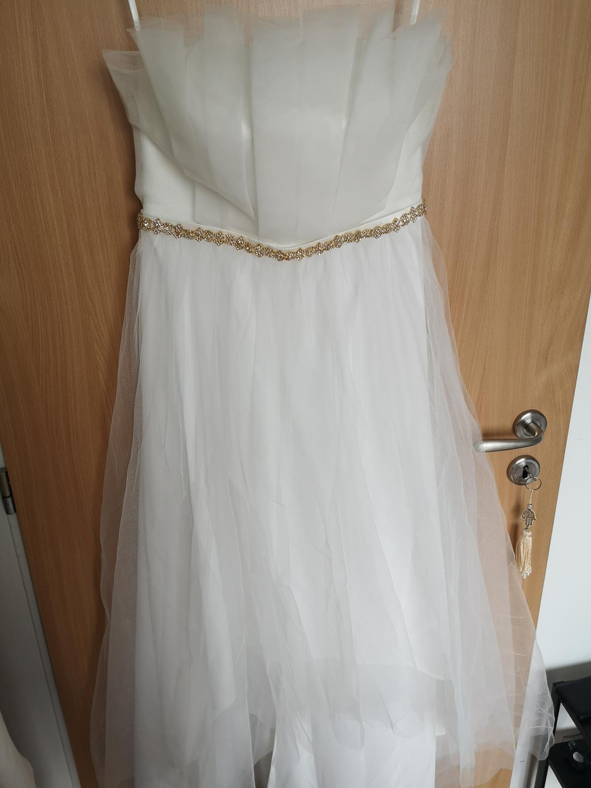 Svatební asymetrické šaty Asos 38 - Obrázek č. 1
