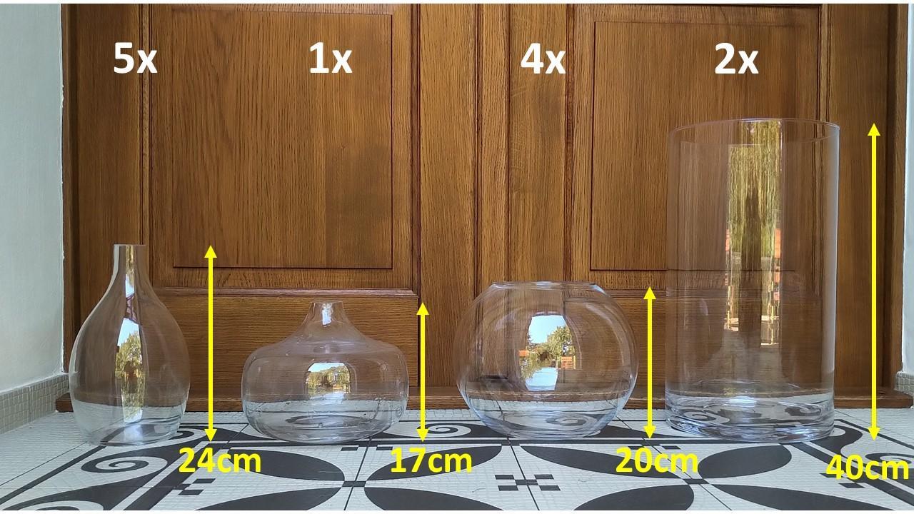 Skleněné vázy (12ks), možno i jednotlivě! - Obrázek č. 1