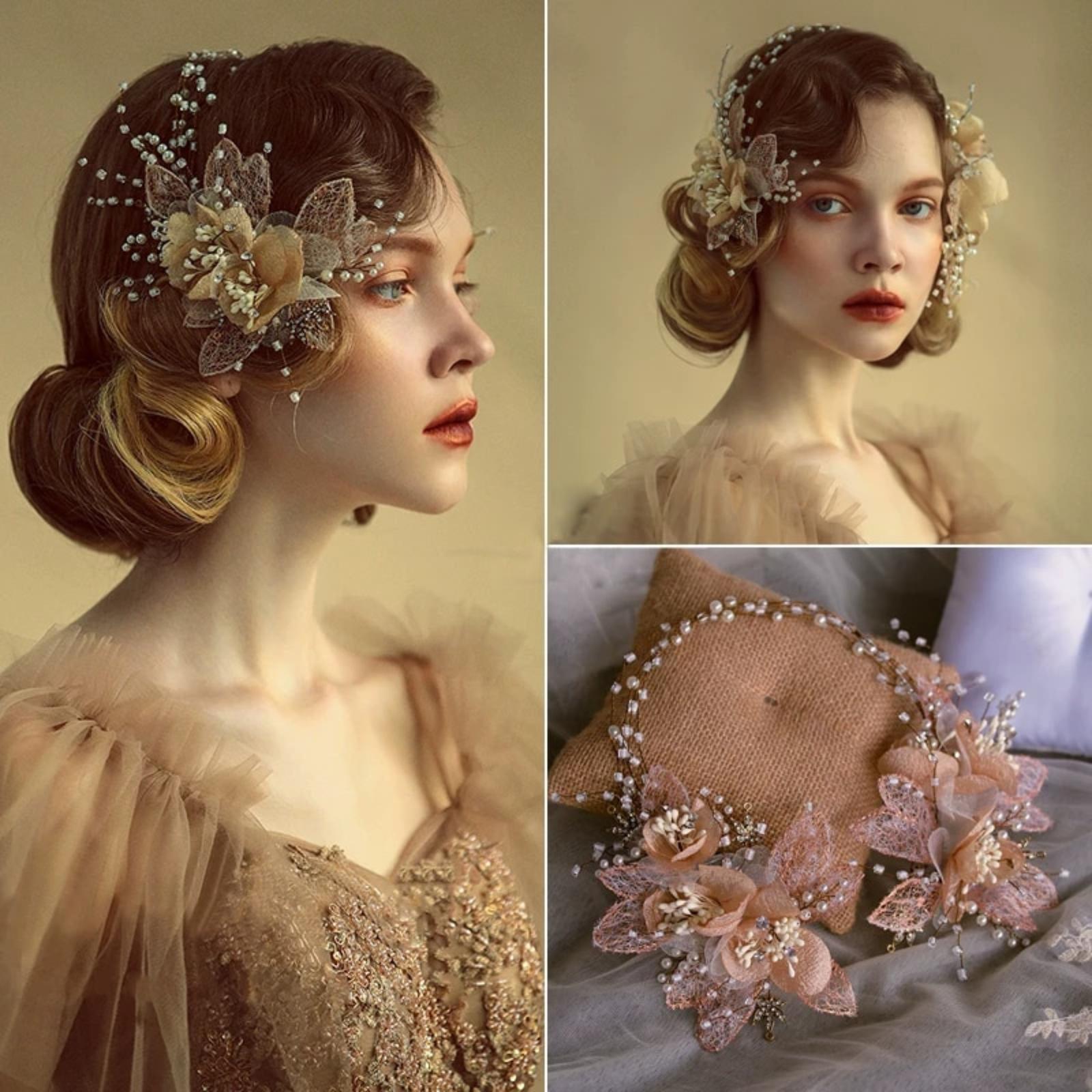 Royal Flower jemná svadobná retro čelenka - Obrázok č. 1