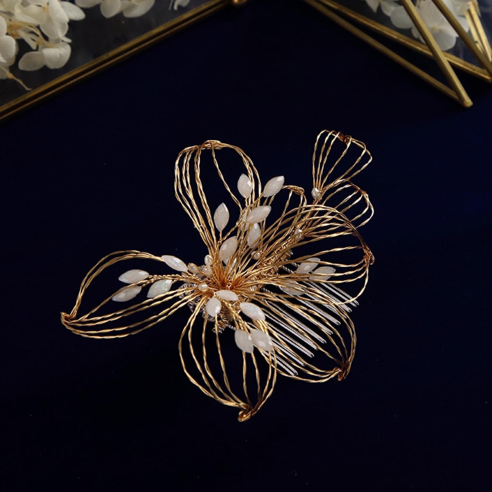 Handmade zlatý kvet, hrebienok - Obrázok č. 2