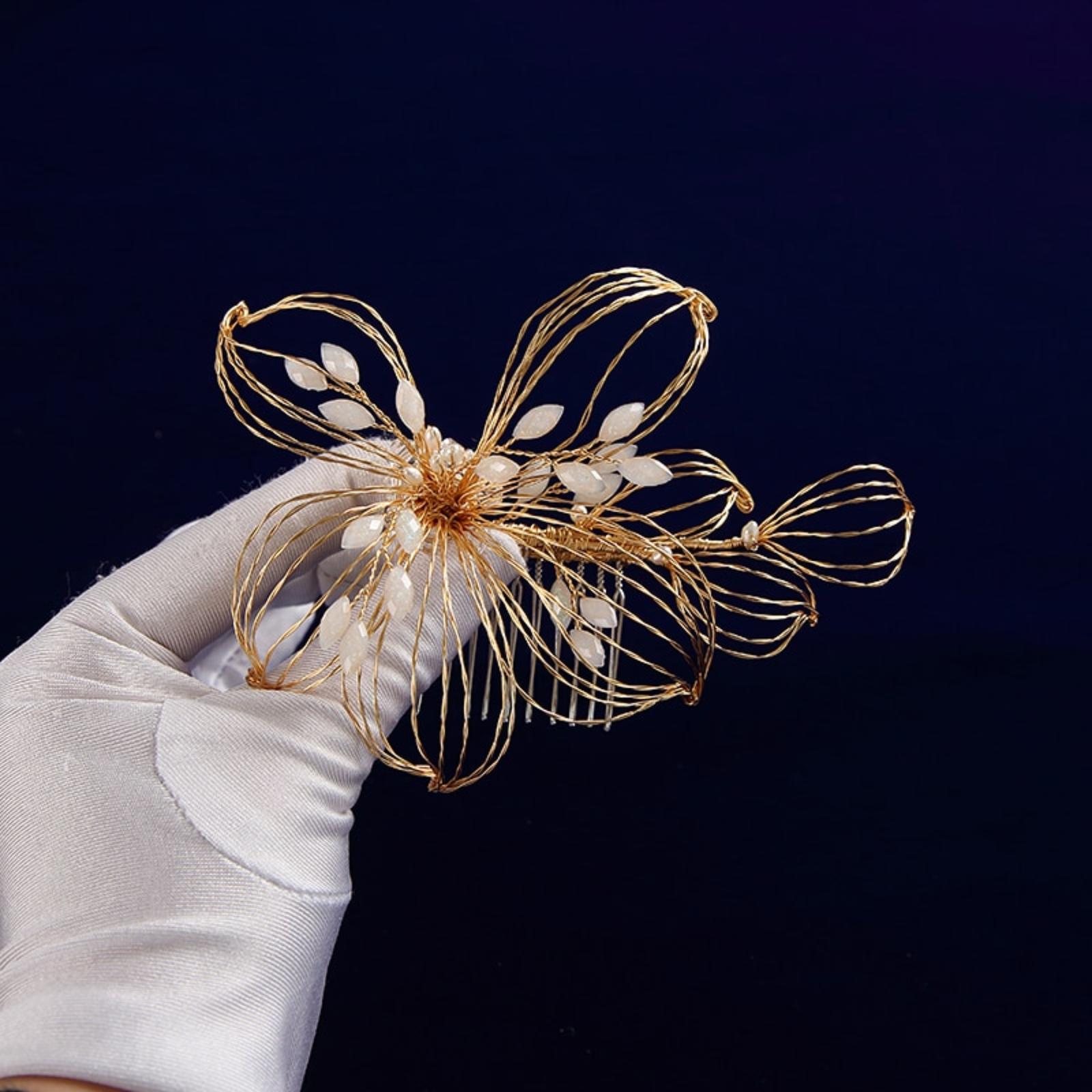 Handmade zlatý kvet, hrebienok - Obrázok č. 3