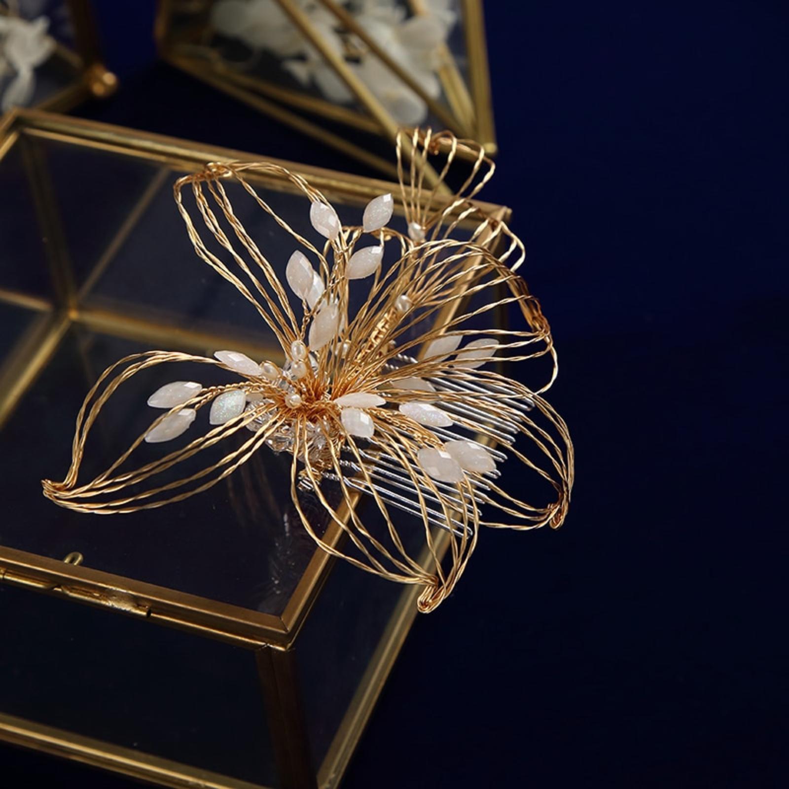 Handmade zlatý kvet, hrebienok - Obrázok č. 4