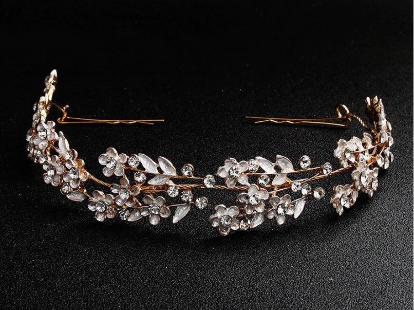 Čelenka do vlasů rosegold a perleťová - Obrázek č. 1