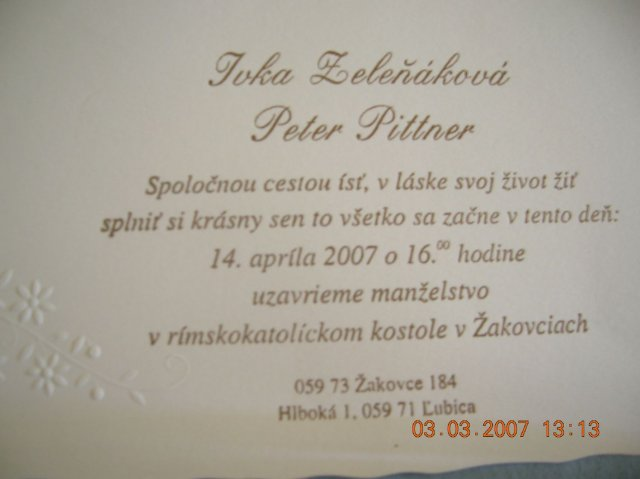 Ivka a petko 14.4.2007 - nase svadobne oznamenie
