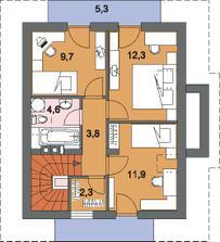podkroví - děti budou mít vlastní pokoj a my velkou ložnici